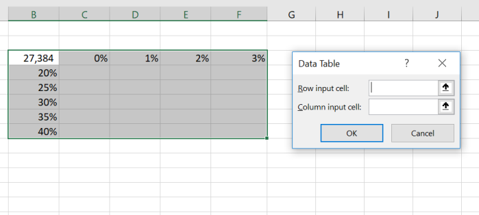 excel data table input